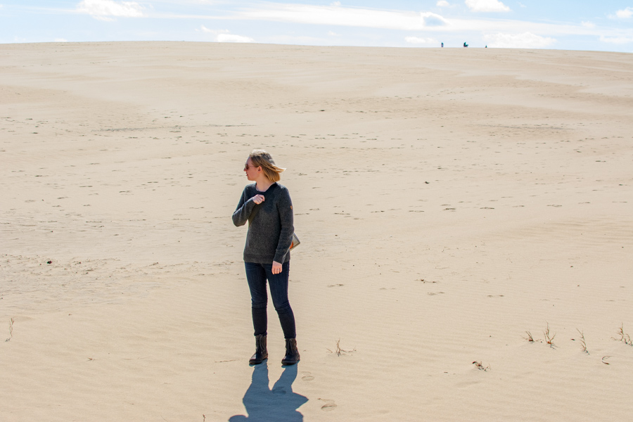 Exploring the sand dunes of Jockey's Ridge State Park in Waldlaufer Jordy Hadessa boots.