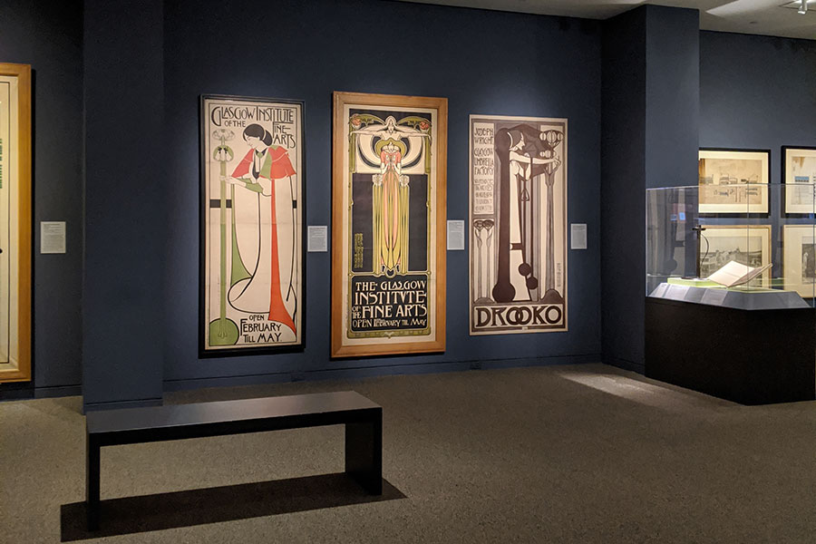 Posters at Designing the New: Charles Rennie Mackintosh and the Glasgow Style exhibit at Walters Art Museum in Baltimore, Maryland.