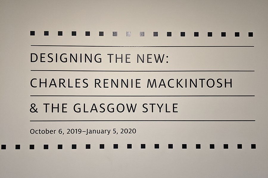 Designing the New: Charles Rennie Mackintosh and the Glasgow Style exhibit at Walters Art Museum in Baltimore, Maryland.
