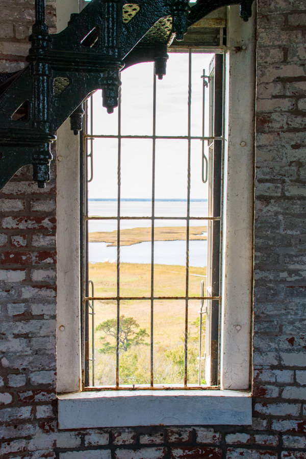 Looking out of a window inside the lighthouse.
