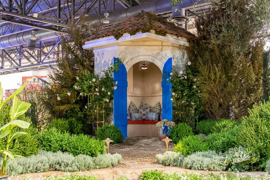 Riviera backyard hangout inspiration at the Philadelphia Flower Show 2020.