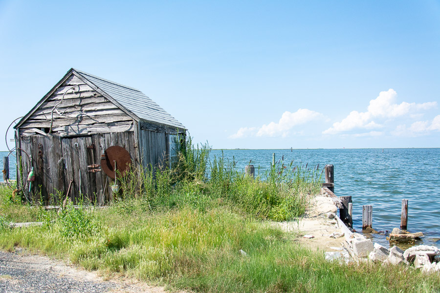 A small shack sits on the waterfront in Ewell on Smith Island.