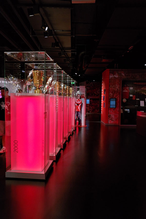 Trophies are display at the FC Bayern Museum in Munich.