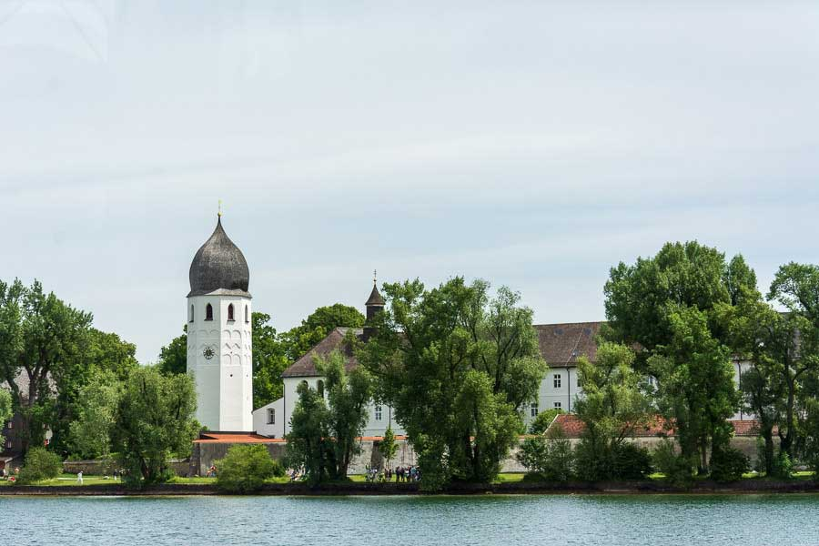 Approaching the Fraueninsel or Frauenchiemsee island.