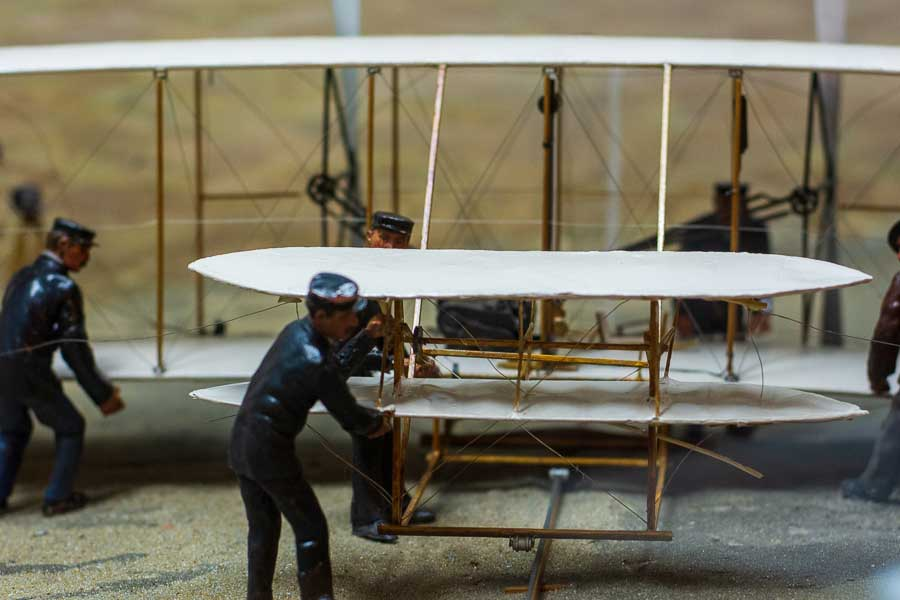 A diorama inside the Wright Brothers Museum in Kitty Hawk, North Carolina.