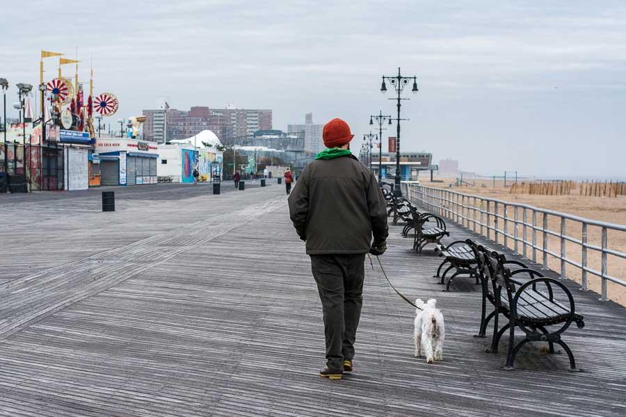 Enjoy a walk on the dog-friendly Coney Island boardwalk.