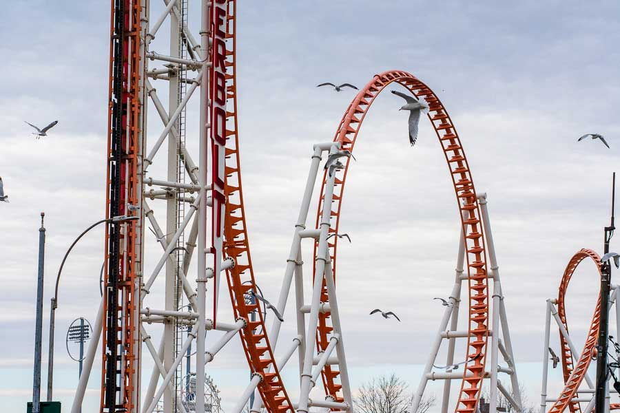 Seagulls soar around an empty roller coaster at Coney Island.