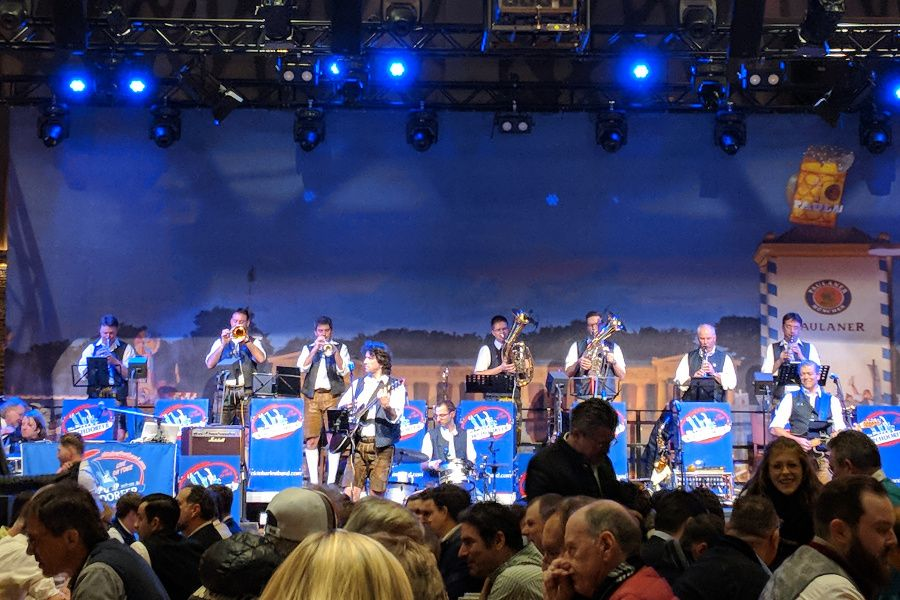 A band entertains the crowds at Starkbierfest, a Munich beer festival.