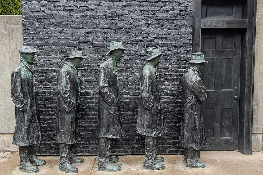 Depression Breadline by George Segal at Grounds for Sculpture.
