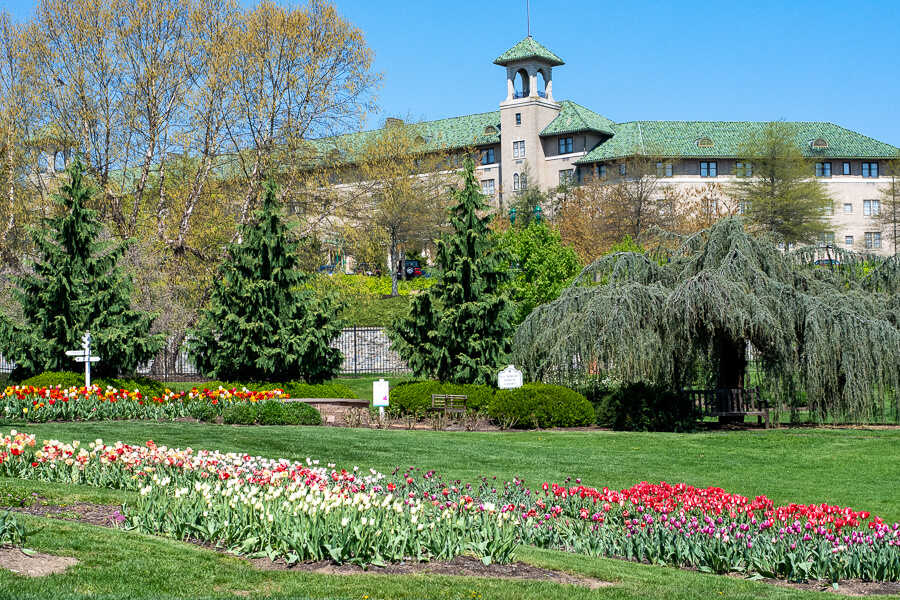 Spring flowers brighten the landscape at Hershey Gardens.
