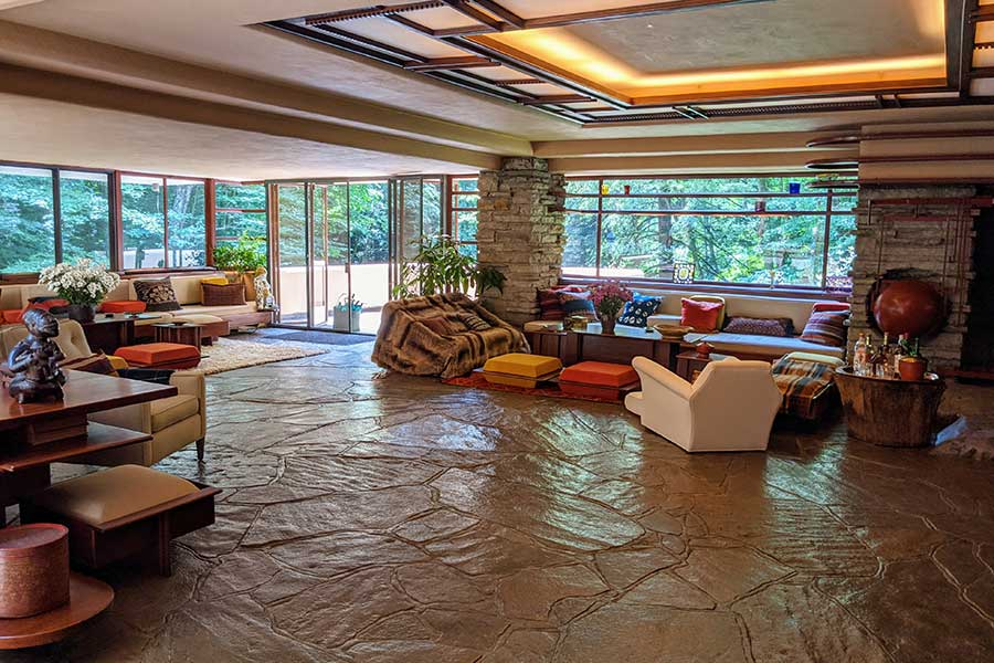 The living room of Fallingwater.