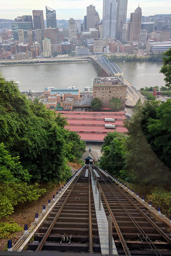 Looking down the historic Monongahela Incline Track and towards Downtown Pittsburgh.
