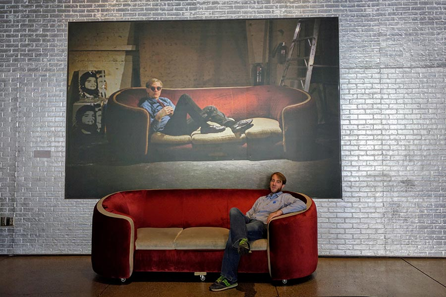 Inside the Warhol Museum, visitors can recreate a famous photo on the sofa.