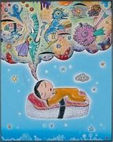 "Saka Niigiri no Yume ( Salmon -Rice Dream ) 16"" x 20 "" Polymers on metal"