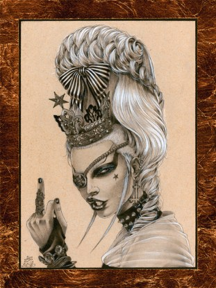 Zoe Lacchei - Baroque Punk 2 Graphite, white tempera, gold leaf on recycled paper, 6 by 8