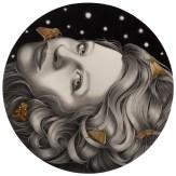 Alessia Iannetti – Mina Graphite and acrylic on paper, 6″ diameter,