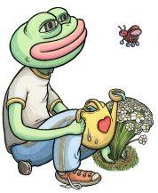 """Scott Teplin Mr. Martin as Pepe pen, ink & watercolor on paper 10"""" x 8"""""""