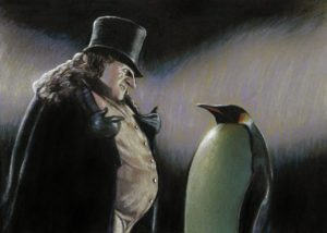 Nathan Anderson – Penguin and Penguin Color pencil on paper, 5×7″