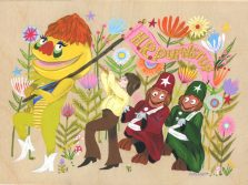 Krista Perry - Pufnstuf Parade_9x12 Gouach On Wood Panel