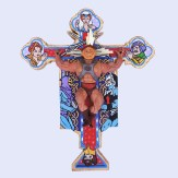 He-Man (Masters of the Universe) original action figure with epoxy putty, on wooden cross,11″x8.6cm