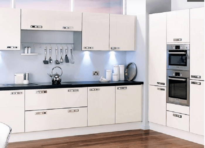 Marvelous All White L Shaped Kitchen Design