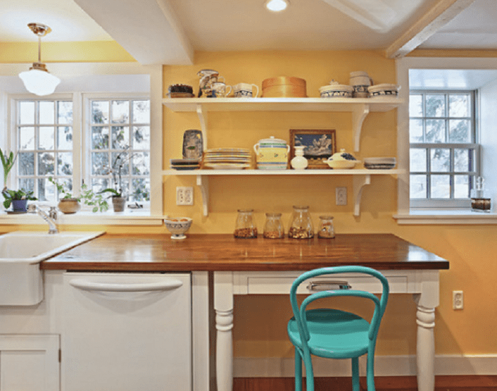 yellow kitchen set