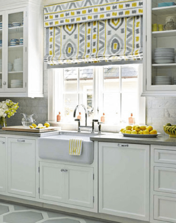 Yellow Accent Kitchen Curtains