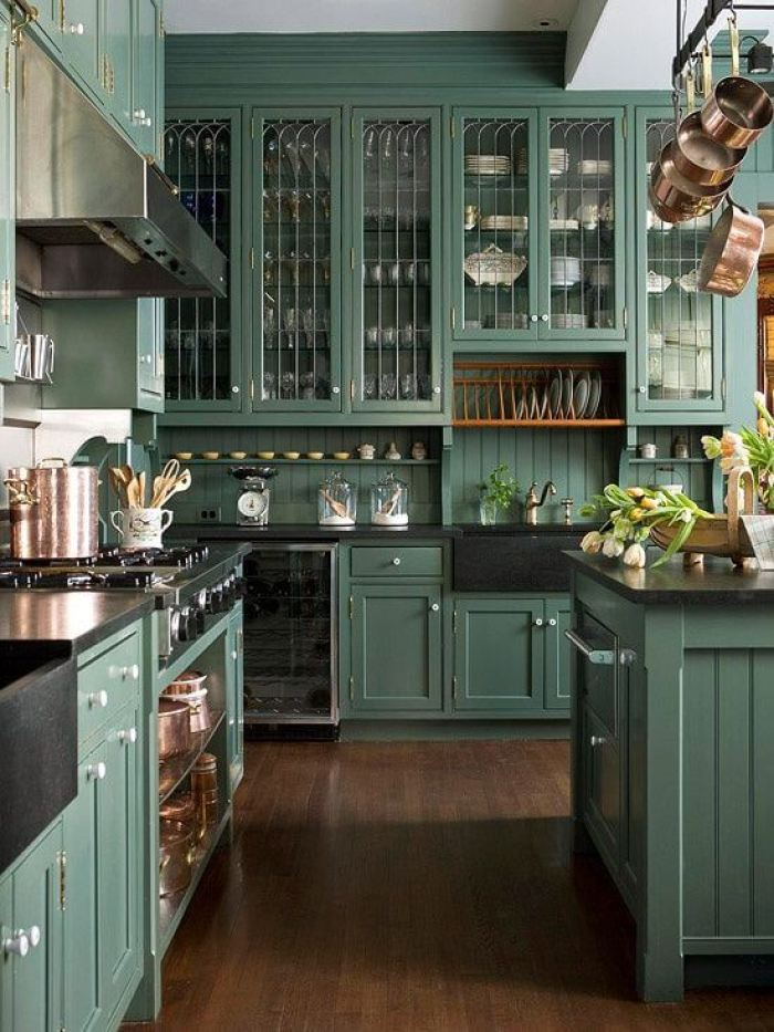 green kitchen - Green Kitchen Cabinets