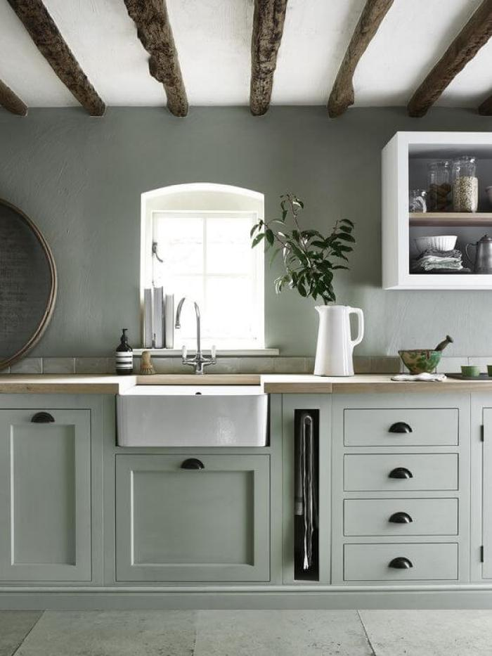15 green kitchen cabinets design photos ideas inspiration for Grey green kitchen cabinets