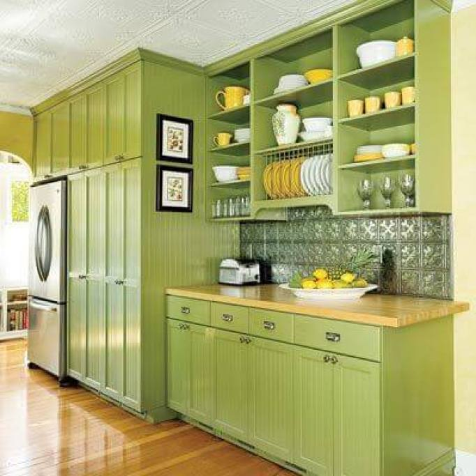 Green Painted Kitchen Cabinets: 15+ Green Kitchen Cabinets Design, Photos, Ideas & Inspiration