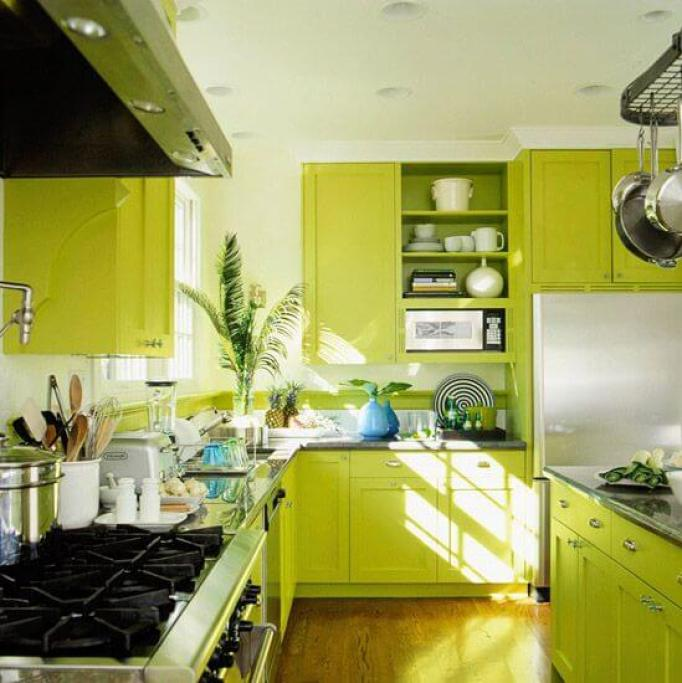 20 Modern Kitchens Decorated In Yellow And Green Colors: 15+ Green Kitchen Cabinets Design, Photos, Ideas & Inspiration