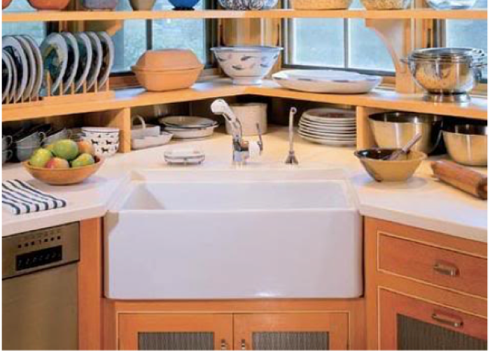 25 recommended ideas of corner kitchen sink design reverb for Suggested kitchen layouts