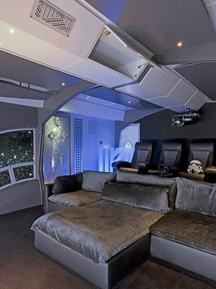 Basement Both Home Theater as Guest Bedroom