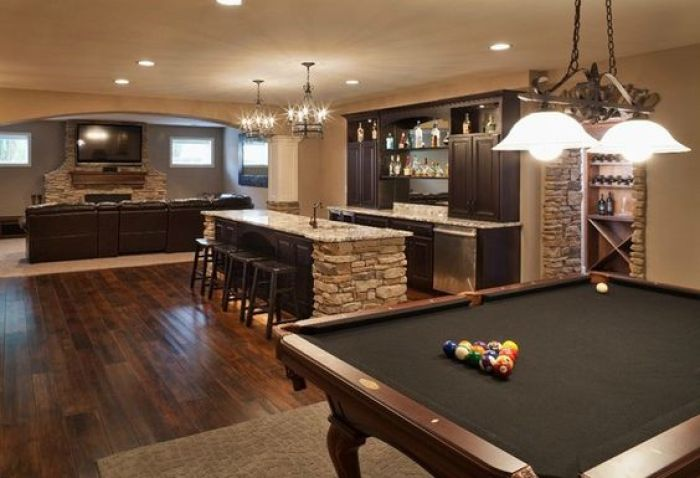 Basement Home Theater and Billiards