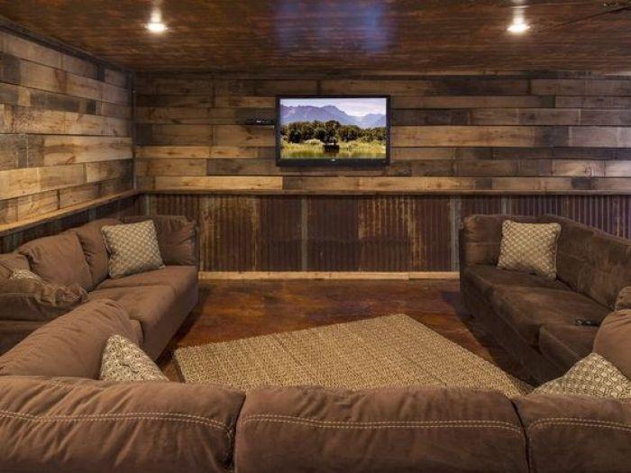 Rustic Home Theater Design