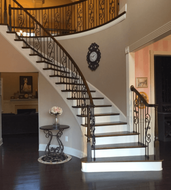 white stair spindles