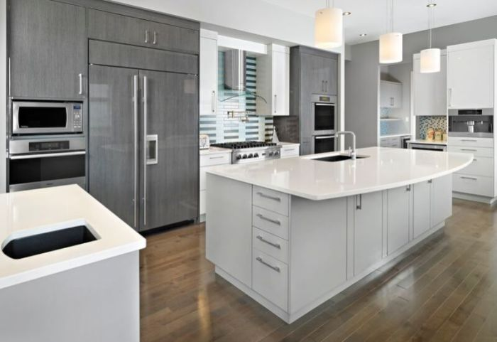 gray and white kitchen cabinets