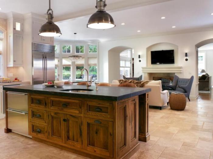 A Rustic Kitchen Island in A contemporary House