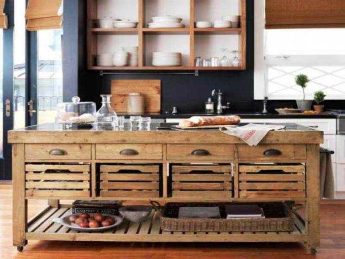 Egg Crate Rustic Kitchen Island