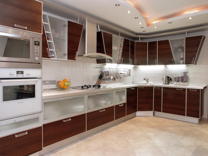 Frosted Glass and Veneer Wood Cabinets