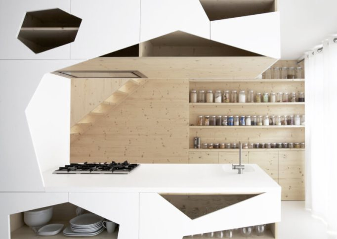 Geometric Modern Kitchen Cabinets