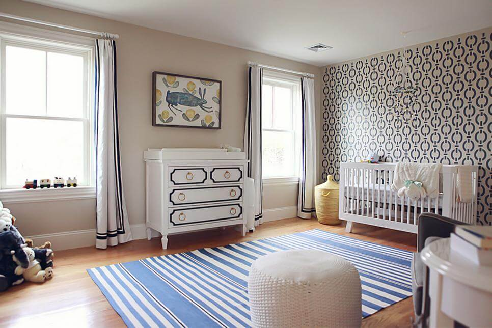 Mid Century Bedroom For Babies With Bold Wallpaper