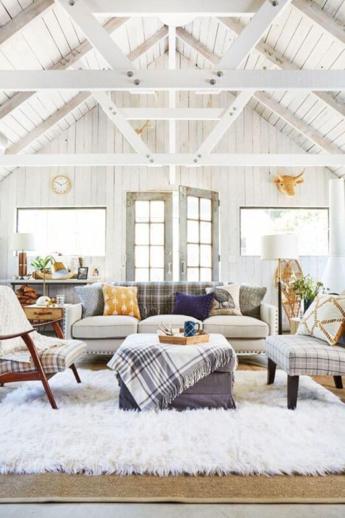 Rustic White Living Room