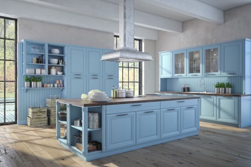 Night Light Blue Kitchen Cabinet - Reverb