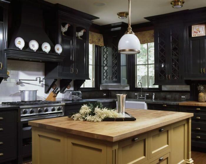 rustic black kitchen cabinets