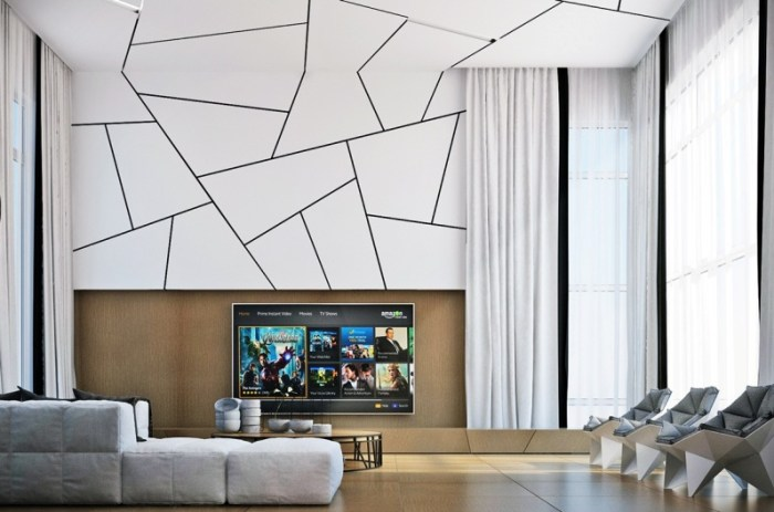contemporary living room wall units