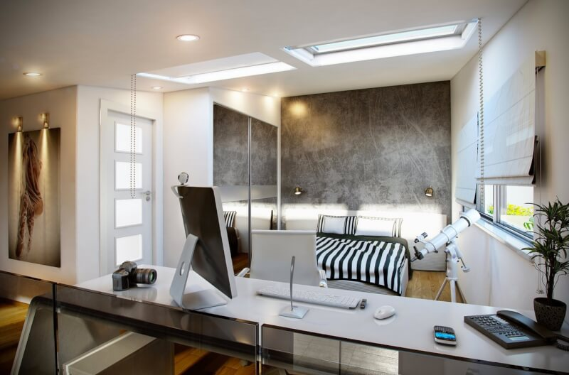 Monochrome Office and Bedroom
