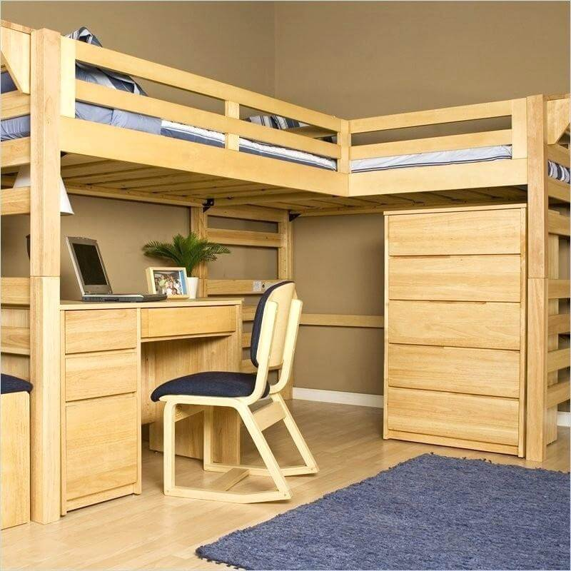 Unfinished Bunk Bed with Office Desk