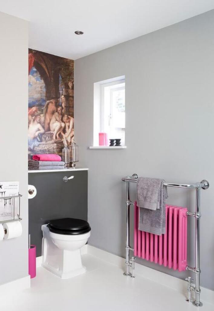 pink bathroom trash can