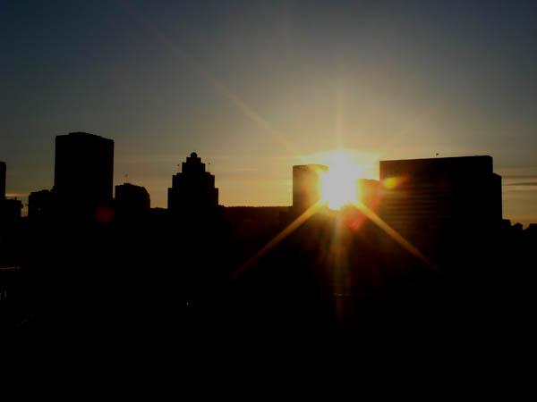 Coucher du soleil sur la ville de Montréal Canada